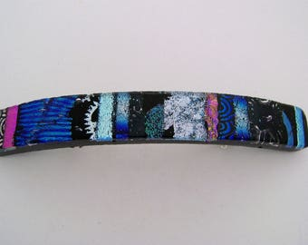Medium Dichroic glass barrette.