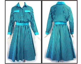 80's TURQUOISE and BLACK // vintage striped shirtwaist dress // full skirt // S M