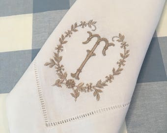 Wonderful Monogrammed Linen/Cotton Dinner Or Cocktail Napkin Embroidered Table Linens