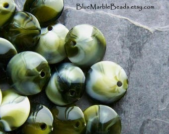Coin Beads, Disc Beads, Marble Beads, Vintage Beads, Lucite Beads, Olive Green, Boho Beads, Boho Charms, Boho Pendants, 20 Beads