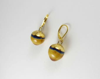 Ceramic earrings HONEY, yellows bowls with gold hat.