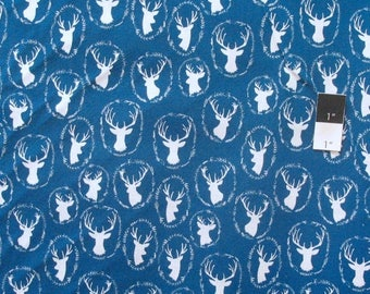ON SALE Quilters Choice Deer Blue Cotton Quilting Fabric By Yard