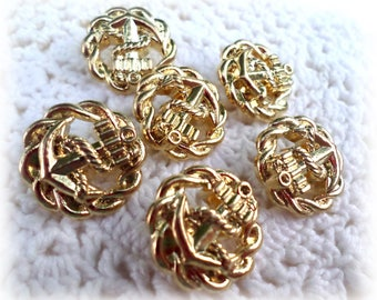 6 Gold Anchor Metal Look Shank Buttons Vintage Metal Buttons