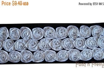 20% OFF EXP 06/30 Two yards Rosette Ribbon 4 inches - Black with White roses