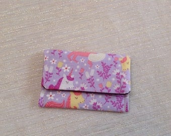Flowers and Unicorns Purple and Pink Card Case