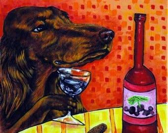 20 % off storewide Irish Setter at the Wine Bar Dog Art Tile Coaster