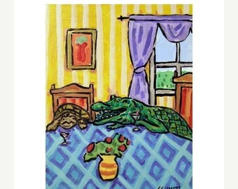 20 % off storewide Turtle and Alligator Toasting Art PRINT 11x14 JSCHMETZ modern abstract folk pop art american ART
