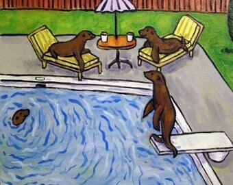 20 % off storewide Sea Lion Pool Party Animal Art Tile Coaster