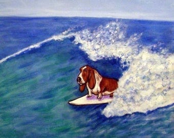 20% off storewide Basset Hound, dog print on tile, basset hound tile, ceramic coaster, gift for surfer, moden dog art,