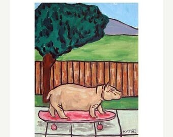 20% off storewide Hippopotamus on a Skateboard Art Print