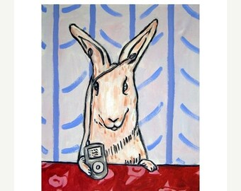 20% off Bunny LIstening to Music on an I-pod Rabbit Art Print