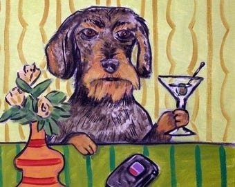 dachshund tile - dachshund art - Dachshund art,MARTINI art, dog art TILE coaster gift modern folk pop art - dachshund gifts