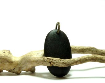 Matte Black Beach Stone FATHOM Unisex Large Pebble Pendant Organic Ebony Dangle Man's Surfer Charm Nautical Sailing Gear
