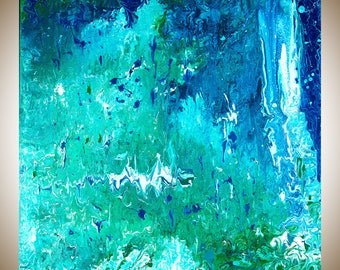 """Turquoise Blue green Abstract painting contemporary art original art wall art canvas art square art """"water fall"""" by qiqigallery"""