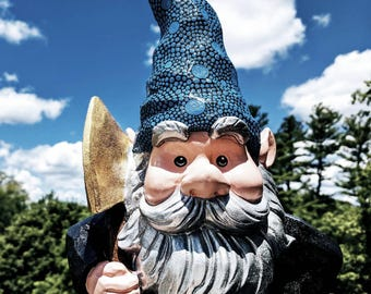 Garden Gnome with an axe hand painted Garden Gnome super sparkly