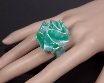 Translucent polymer clay ring, sea foam green