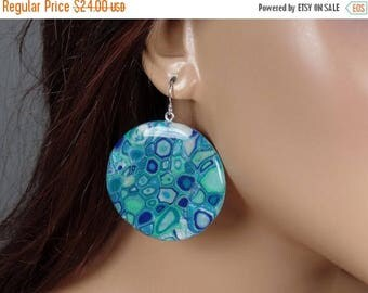 ON SALE Polymer clay round dangle earrings, abstract design, blues, greens, ooak