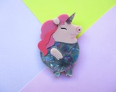 Piggicorn the Unicorn Pig Acrylic Brooch
