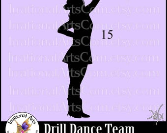 Drill Dance Team Silhouettes Pose 15 - 1 EPS & SVG Vinyl Ready files and 1 PNG digital file and commercial license
