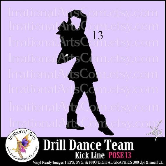 drill dance team silhouettes pose 13 1 eps amp svg vinyl ready