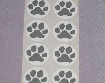 Paw Print Stickers Set of 8