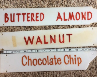 ICE CREAM SIGNS vintage signage, flavors, creamery, instant collection, kitchen decor, display