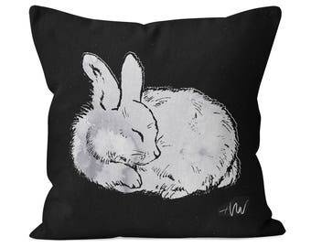 Sleeping Bunny Rabbit #2 Cotton Twill Pillow for baby girl or boy - nursery decor collection, kids gift