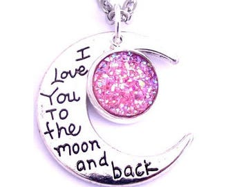 """Pink Faux Druzy I Love You To The Moon And Back Nacklace 30"""" Stainless Steel Chain"""