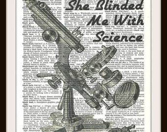 She blinded me with Science- Lyrics-Microscope- Laboratory-Vintage Dictionary Art Print---Fits 8x10 Mat or Frame