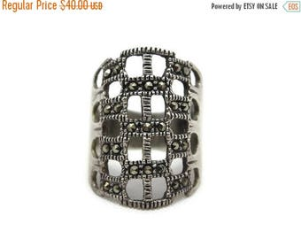 OnSale Sterling Silver Marcasite Ring - Cage Statement Ring, Long Ring