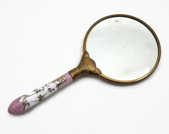 Porcelain Hand Mirror - Painted Pink Gold White A E Lewis Floraine 1940s