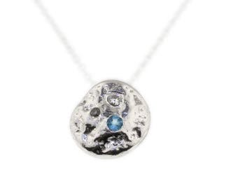 Swiss Blue Topaz, Diamond, Moissanite Sterling Silver Pendant Necklace