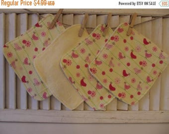 SALE 10% OFF Set of 4   Washcloths, Reusable Wipes, NapkinsSweet Yellow Bird Print