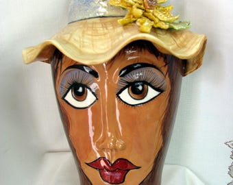Ceramic Hanging Wall Planter/Vase 3-D sculptured lady's Face with Ceramic Straw Hat and hand formed yellow Flower on Etsy