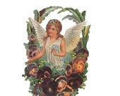 Victorian Paper Scrap Germany Large Lithograph Die Cut Of Angel With Pansies  5026
