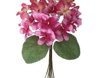 Bouquet of 24 Burgundy & Pink Ombre Fabric Violets ~ Czech Republic  NFC 040BPK