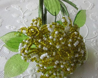 Wholesale Lot 18 Handmade Glass Seed Bead Yellow Millinery Flowers Lucite Leaves