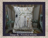 Happy Halloween Sampler--Primitive Stitchery E-PATTERN by Primitive Stitches-Instant Download