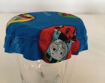 Children Reusable Elastic Drink Cup Glass Cloth Coaster Cover Tank Train Engine Fabric
