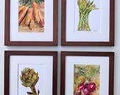 Veggie art, Kitchen Art, Watercolor Painting, Prints, asparagus radish artichoke carrots