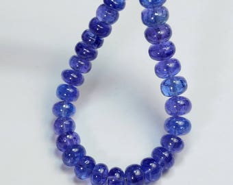 6MM-7.7MM Large Tanzanite Smooth Rondelle Beads 5inch Strand