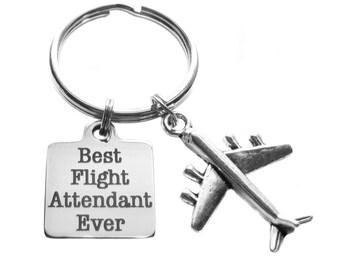 Best Flight Attendant Ever Keychain Bag Luggage Charm Flight Attendant Gift