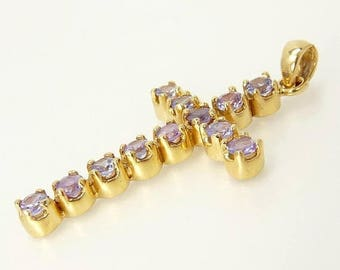Large 14K Gold Amethyst Cross Pendant