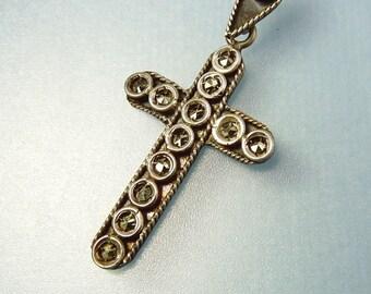 Antique Victorian Sterling Marcasite Cross Pendant Necklace