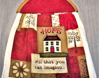 AMERICANA HOPE SAYING Double Layer Hanging Decorative Towel, oven door towel, kitchen, housewarming, birthday, gifts, holiday