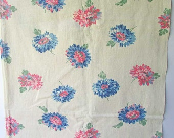 Vintage Cotton Towel Fabric, 1 Yard of Vintage 1940's Cotton Floral Kitchen or Utility Towel Fabric, Blue and Pink Blossoms on Creamy White