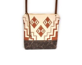 weekdayer • waxed canvas crossbody bag - geometric print • orange geometric print - screenprinted - brown waxed canvas - summer bag
