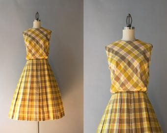 1960s Dress / Vintage 60s Mustard Gold Plaid Day Dress / 60s Sleeveless Pleated Cotton Dress M medium