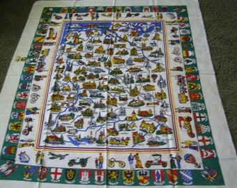 Vintage Souvenir Tablecloth with Tags ~ W. Germany Crests Transportation German
