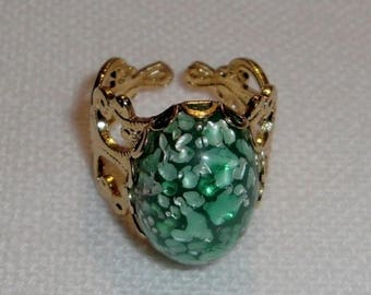 ON SALE- gold tone green speckled ring - r106